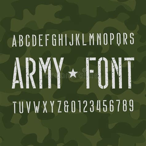 army pattern font army alphabet font scratched type letters and numbers on