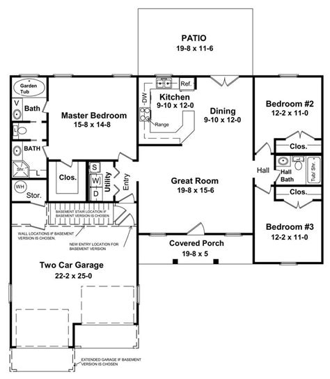 floor plan of a house 3 bedrm 1400 sq ft country house plan 141 1152