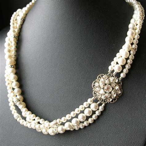 Perlenkette Hochzeit by Bridal Pearl Necklace Statement Wedding Necklace Twisted