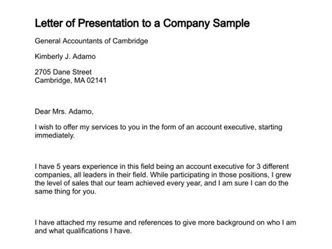 Format Of Business Letter Ppt letter of presentation