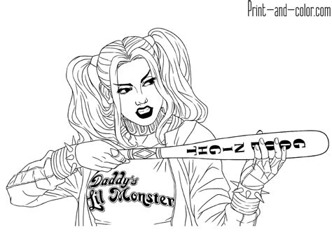 pictures for coloring harley quinn coloring pages print and color