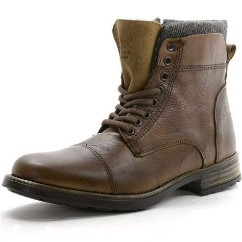 mens leather boots casual gbx mens tosh ankle high boots lace up combat style casual
