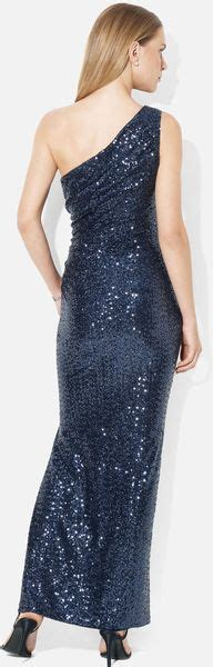 Js Shine Navy by ralph one shoulder sequin column gown in