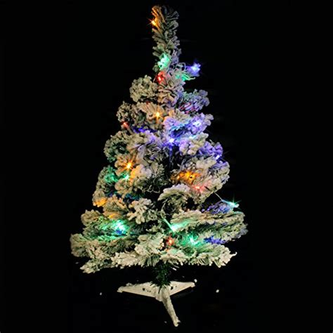 tabletop christmas tree with led lights wideskall tabletop artificial snow flocked green pine tree with 30 led lights 2