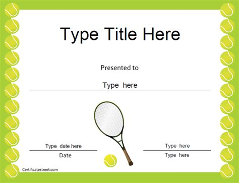 tennis certificate template free sports certificates tennis award certificate