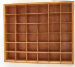 Letterpress Cabinet Vintage Wood Shadow Box Knick Knack Shelf Curio Display