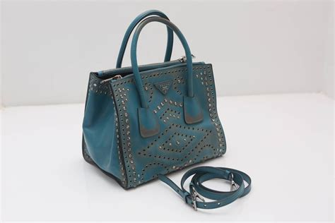 7 Gorgeous Fall Handbags by Prada Vitello Vintage Embellished Tote Fall 2014 For Sale