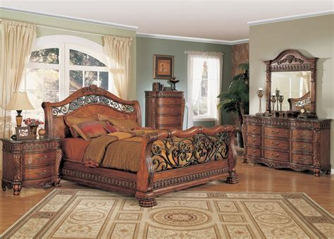 jasper luxury king cherry sleigh bed marble 5 pc bedroom nicholas king cherry sleigh bed 4 piece bedroom furniture