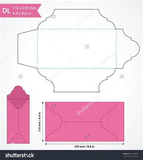 envelope template die cut vector envelope template standard dl size