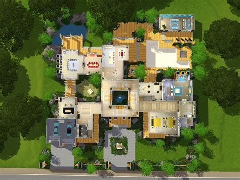 Mod The Sims The Grand Retreat A Modern Mansion Modern Mansion Floor Plans Sims 3