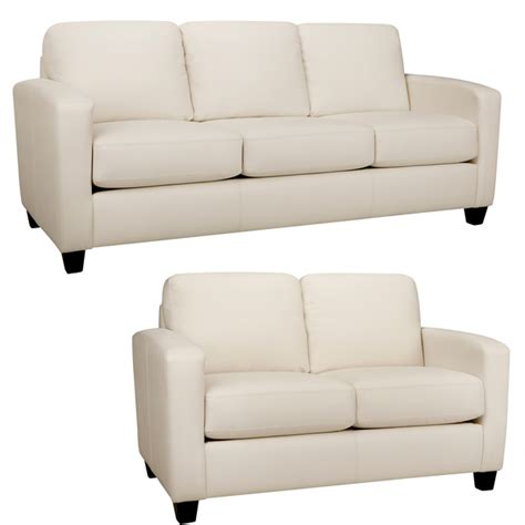 White Loveseat White Leather Sofa And Loveseat Smalltowndjs