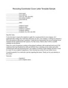 Recruiting Coordinator Cover Letter by Cover Letter Recruiter Free Cover Letter