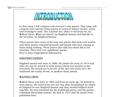 Compare And Contrast Poetry Essay by Comparison And Contrast Poem Essay Haut Plantade
