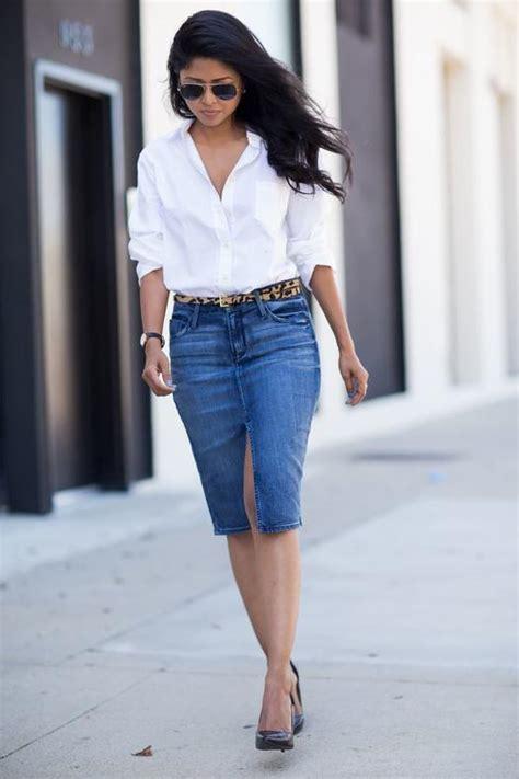 16 fresh ways to wear a denim skirt more