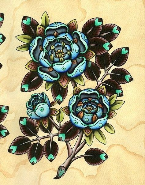 tattoo flower flash blue flowers flash art by amy williams flash art