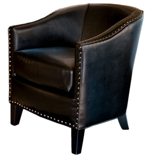 Black Leather Accent Chair Black Leather Tub Design Club Chair Transitional Armchairs And Accent Chairs By Gdfstudio