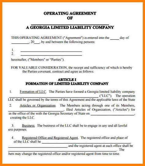 8 Llc Operating Agreement Template Introduction Letter Llc Operating Agreement Indiana Template