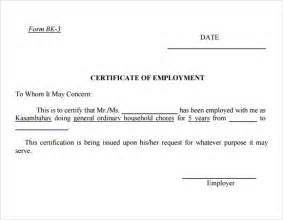 Certificate Of Certification Template by Employment Certificate Template 9 Free