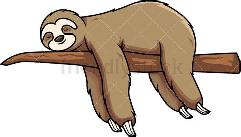 sloth clipart sloth sleeping on tree branch vector clipart