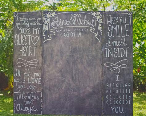 diy chalkboard wedding backdrop a whimsical diy wedding in hawaii with handmade clay