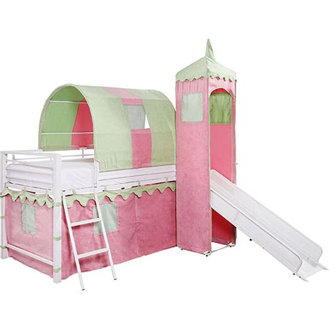loft bed with below s castle tent loft bed w slide bed storage