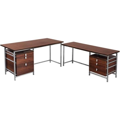 Corner Executive Desk Jules Wabbes Executive Desk In Rosewood With Rarely Offered Return At 1stdibs