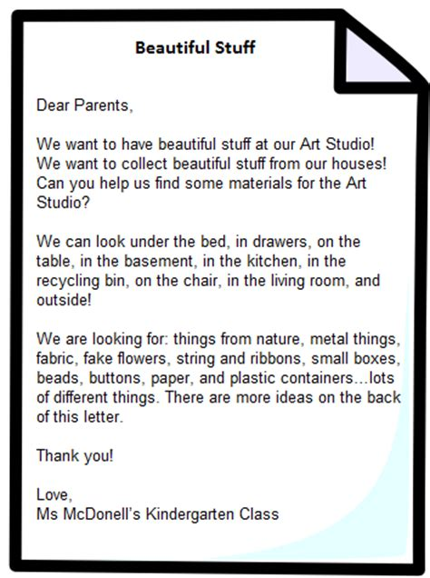 Parent Letter For Literacy Bag Beautiful Stuff The Curious Kindergarten