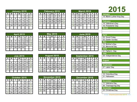 printable yearly vacation calendar calendar with holidays 2015 pictures images