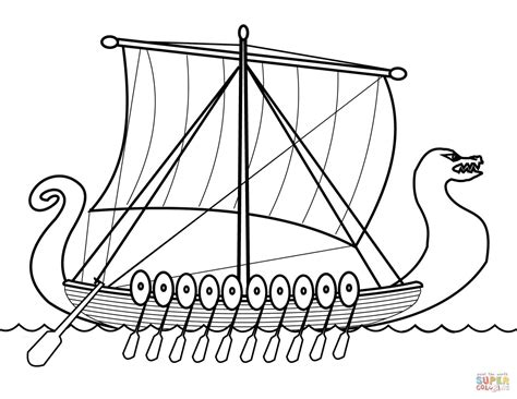 boat outline printable drakkar viking ship coloring page free printable