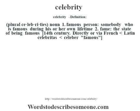 what is a definition for celebrity celebrity definition celebrity meaning words to