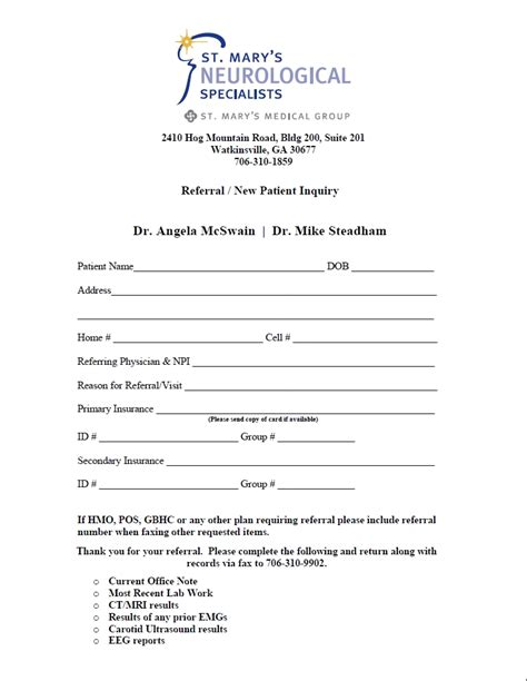 medical referral form templates free printable