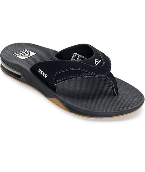 black reef sandals reef fanning black silver sandals zumiez