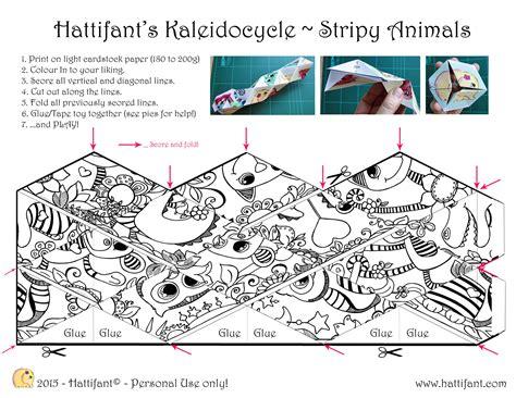printable flextangle hattifant s stripy animal kaleidocycle hattifant s