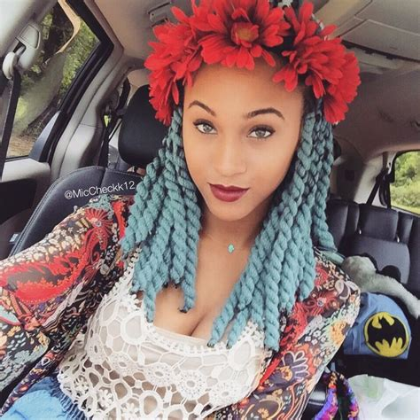 hair style with color yarn blue chunky yarn twists ig miccheckk12 yarnbraids
