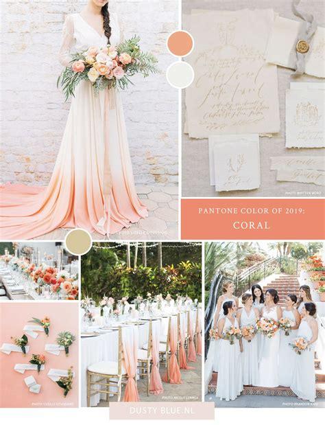 bruiloft thema kleur van het jaar  living coral