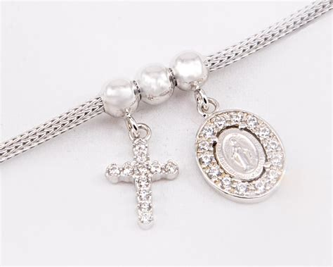 miraculous madonna cross sterling silver necklace