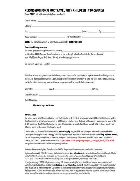 travel authorization letter for minor canada permission form for travel with children into canada by