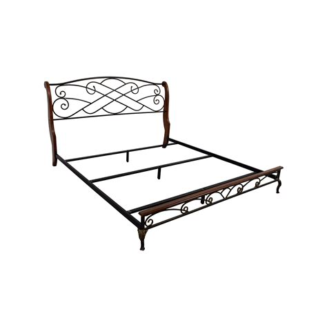 Metal Bed Frame King 90 King Wood And Metal Bed Frame Beds