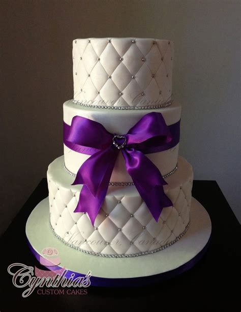 Quilted Fondant Cake by White And Purple Wedding Cake All Fondant Cakes Quilted Pattern Silk Ribbon Www