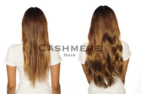Brown Clip In Hair Extensions Cashmere Hair | before after real customer cashmere hair clip in