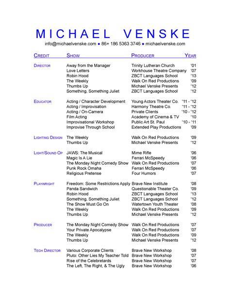 Theater Resume by Theatre Resume Template Cyberuse