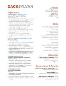 Social Media and Marketing Specialist Resume, Zack Sylvan