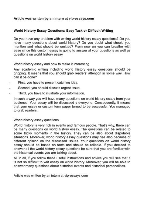 Difficult Essay Prompts by Calam 233 O World History Essay Questions Easy Task Or Difficult Writing