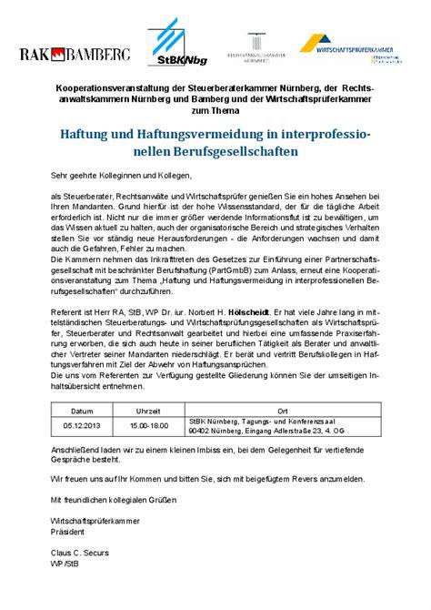 Muster Einladung Zur Informationsveranstaltung 2013 Wirtschaftspr 252 Ferkammer