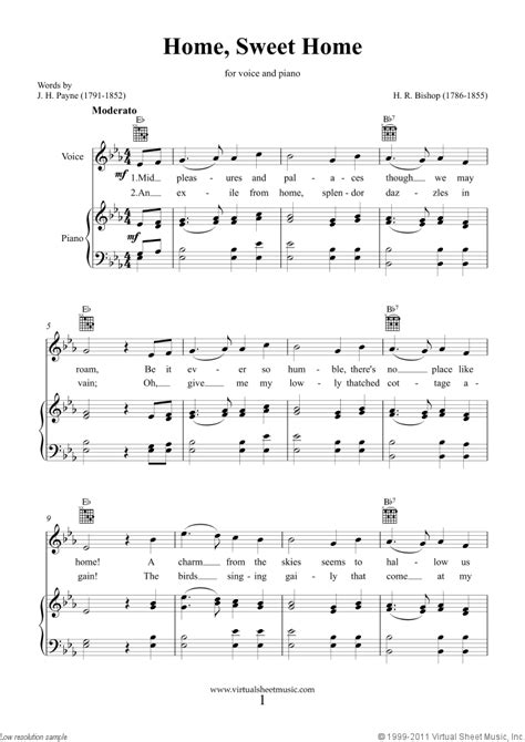 best sheets sweethome bishop home sweet home sheet music for piano voice or