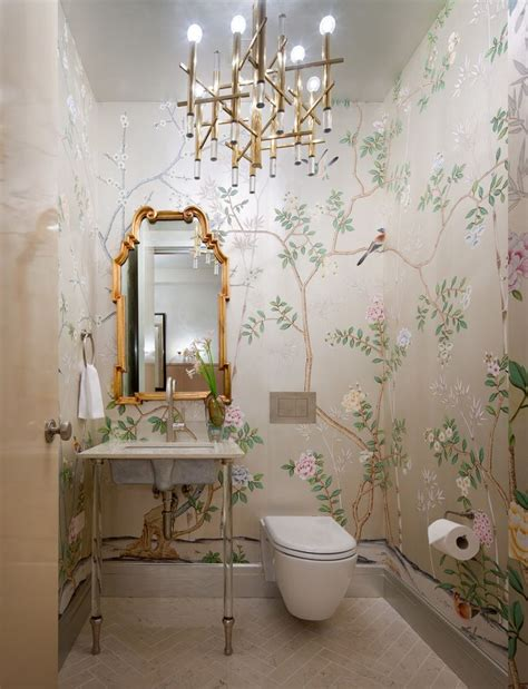 wallpaper powder room bathroom decorating ideas for a small yet stylish design