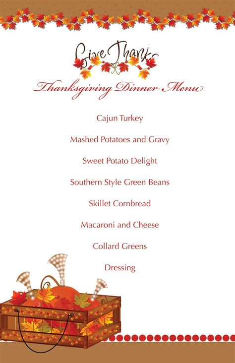 printable thanksgiving splendor menu tamilyngardner