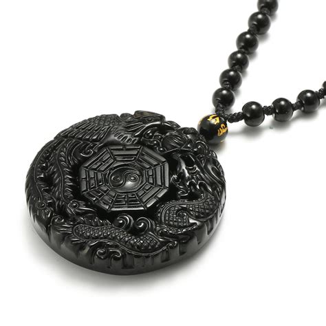 Obsidian Necklace black obsidian lucky pendant chi necklace chain for