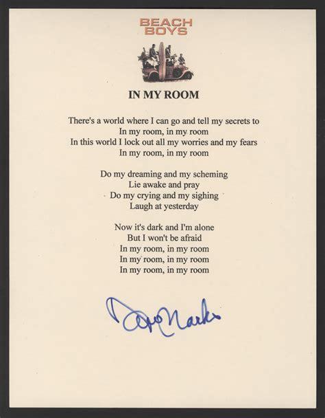 in the boys room lyrics lot detail boys david marks signed quot in my room quot lyrics