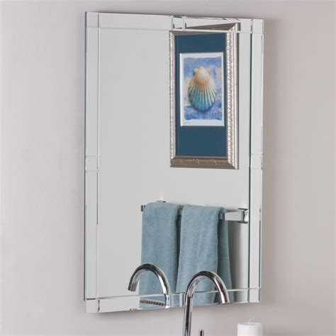 Frameless Bathroom Mirrors Shop Decor Kinana 23 6 In X 31 5 In Rectangular Frameless Bathroom Mirror At Lowes